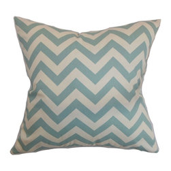 """The Pillow Collection - Xayabury Zigzag Pillow Village Blue Natural 20"""" x 20"""" - This attractive throw pillow will be the life of your room. This accent pillow comes with a festive zigzag print pattern in blue and natural hues. This square pillow looks great when paired with solids and other patterns. This 20"""" pillow is made from 100% soft and high-quality cotton fabric. This decor pillow is great for various styles and settings. Hidden zipper closure for easy cover removal.  Knife edge finish on all four sides.  Reversible pillow with the same fabric on the back side.  Spot cleaning suggested."""