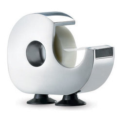 Standing Tape Dispenser - This simple tape dispenser stands at attention on two wide, stable feet. It's a classy, modern option in gleaming chrome.