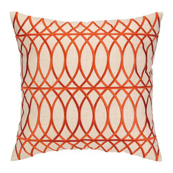 "DL Rhein - DL Rhein Loop De Loop Orange Embroidered Pillow - The DL Rhein Loop de Loop pillow complements transitional interiors with modern style. Exuding eclectic sophistication, this cream decorative accessory's orange curved embroidery delivers dimensional depth. 20""W x 20""H; 100% ramie; Dry clean only; Feather-down fill insert included"
