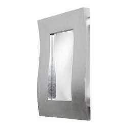 Howard Elliott - Montrose Mirror in Bright Silver Leaf Wavy Frame - Frame Size: 24 in. x 36 in. x 3 in.