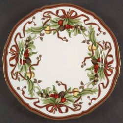 TIFFANY & CO Salad Plate - Tiffany Holiday-White Background, Japan at Replacemen - Festive red ribbons on a white plate.