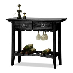 Leick Furniture - Favorite Finds 2 Drawer Mission Wine Stand - 2 Drawers. Bottom wine rack. Built-in wine glass holder. Blackened, metal ware pull. Slatted wine storage shelf. Hanging stemware channels. Canted post with wedge corbel. Durable wood drawer box and guides. Solid Ash and Oak veneers. 36 in. W x 13 in. D x 30 in. H