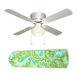 Seaside Green and Blue Paisley Ceiling Fan with Light - 42-inch 4-blade ceiling fan with a dome lamp kit that comes with custom blades. It has a white flushmount fan base. It has an energy efficient 3-speed reversible airflow motor for year long comfort. It comes with complete installation/assembly instructions. The blades can be cleaned with a damp cloth. It is made with eco-friendly/non-toxic products. This is brand new and shipped in the original box. This is not a licensed product, but is made with fully licensed products. Note: Fan comes with custom blades only.