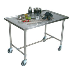 John Boos - John Boos Cucina Mariner Stainless Steel Serving Cart - Food service grade stainless steel cart, legs, and brace with locking caster wheels. Perfect for food prep and serving. 48x24 in. or 48x30 in.
