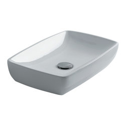 "H10 50 Countertop / Undermount Bathroom Sink, Rectangular - H10 50, 19.6"" x 12.6"" x 4.0"", Countertop / Undermount Bathroom Sink in Ceramic White"