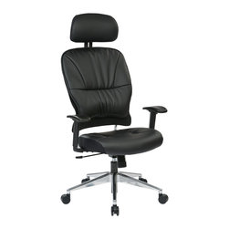 Office Star - Office Star Black Eco Leather Managers Chair With Headrest - Black Eco, Leather Seat and Back Managers Chair with Adjustable Arms and Polished Aluminum Finish Base. What's included: Office Chair (1).