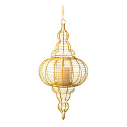 Wire Pillar lantern - Lighten the mood with soft candlelight in this striking and unique yellow pillar lantern. Add a pop of color and make a feature of accent lighting by mixing and matching lantern heights and shapes. The large yellow metal frame and funky curves of the Wire Pillar Lantern add eclectic chic to any living space.