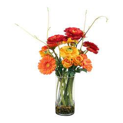 "Vickerman - Roses and Ranunculus in Glass Cylinder - 25"" Roses and Ranunculus in Glass Cylinder"