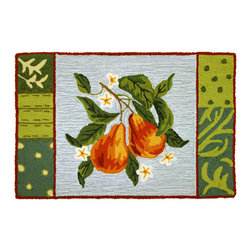 Homefires - Blooming Pear Rug - Pears blossoming against a summer sky conjure up the most pleasant of memories even for those of you who have forgotten the joy of childhood. Experience the charm of happy memories with an indoor, wool look alike, machine washable area rug. Your psyche will thank you.