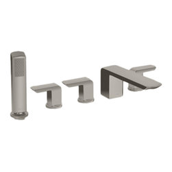 """Toto - Toto TB960S#BN Brushed Nickel Soir?e Deck-Mount Bath Faucet, Handshower/Diverter - Toto TB960S#BN is a three lever handle deck-mounted tub filler trim with hand held shower from the Soiree Collection of Toto USA Faucets. This faucet features a contemporary style with a Brushed Nickel Finish, is constructed of Solid Brass for long lasting looks and function, and it comes with a 60"""" hose for the handshower. The Toto TB960S#BN requires Toto Rough-in valve TB6FR. Toto Model TB960S#BN meets or exceeds the requirement of the ADA, ASME, A112.18.1, CSA, B125.1, and IAPMO, and it meets UPC, IPC, NSPC, and NPCC codes."""
