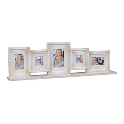 Benzara - White Decorative Wooden Multi Photo Frame - Love clicking pictures? Well now you can preserve all the photos clicked by you and keep them inside these photo frames which are white in color and made of wood. Among the six photo frames there are four small and one is big. You can use the bigger frame for keeping your family picture and the rest photo frames can be used to keep individual or group picture. These photo frames are in a row and as they have a flat base they stand firmly. You can keep these frames wherever you wish to i.e. inside your house.You can make your friends go wow at the sight of these frames when they visit your place. They too are surely going to demand for these photo frames as they look very pretty. You can keep these frames in your living room inside your wall unit so that guests and visitors easily see it. This white wooden photo frame measures 33.88 inch (width) x4 inch (D) x9.75 inch (H); Helps in preserving memories; A must have home decor