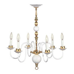Renovators Supply - Chandeliers White Brass 6 Arm Chandelier 27 H x 25 1/2 W'' - Chandelier: Our Candle Arms Brass Chandelier in a bright solid brass finish adds elegant Victorian styling to any room. Features protective tarnish resistant finish &  measures (height) 27 in.  x (width) 25 1/2 in. ().