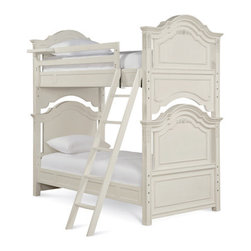 Universal - Smart Stuff - Gabriella Bunk Bed - Sisters don't always like to share, but with the beautiful Lace Bunk Bed set from Universal Furniture they can create a harmonious space that will last for years! Each gets their own bed; each gets their own spot to unwind; but who gets to have the shabby chic style and elegant detailing? Both of them! Sold as a Twin over Twin or Twin over Full size frame with a clock shelf, Trundle or storage space, and a grooved step ladder, this bunk bed is the perfect match for your girls' bedroom decor!