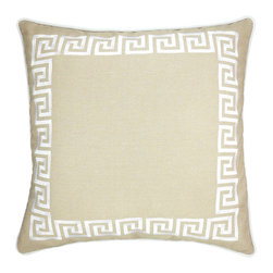 "NECTARmodern - Wave Key (beige) modern greek key throw pillow 20"" x 20"" - An embroidered Greek key pattern borders this chic pillow. Beige with white embroidery. Rolled contrast piping around the edge. Solid beige back. Designer quality cover with overstuffed feather/down insert."