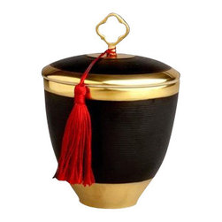 """L'Objet - L'Objet Cle Noir Black Key Candle w/ Red Tassel - Encapsulated in a textured vessel created from fine Limoges porcelain, each candle features a fitted lid adorned with delicate charm-like finials and exudes the intoxicating scent of Vetiver D'orient Handcrafted Limoges Porcelain14K Gold Details. 3.5""""Dia. x 5""""TBurn Time: approx 35 hours. Luxuriously Gift Boxed"""