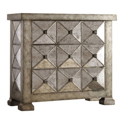Hooker Furniture - Melange Dimensional Mirrored Chest - White glove, in-home delivery included!  A pyramid front pattern and antique mirrored finish create a memorable style statement in the Dimensional Mirrored Chest.  Three drawers.  This item is hand finished with an antiqued wash over the silver leaf resulting in a warm tone.  Finish may vary slightly.