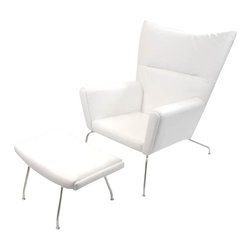Fine Mod Imports - Wing White Leather Chair and Ottoman - Features: