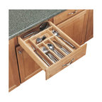 "Rev-A-Shelf - Rev-A-Shelf 4WCT-1 Wood Cutlery Tray Insert - There is nothing more frustrating than an unorganized kitchen drawer. Finding the kitchen utensil you need in seconds, with a look to match your kitchen, can make your life so much simpler. Just drop the insert right into the drawer opening to help organize utensils in the kitchen. If it's not a perfect fit, the product is trimmable with a cut to size option to fit almost any drawer. This wood utensil organizer for drawers is made of maple hardwood with a UV-cured clear finish. Give your kitchen a classy organized look with the Rev-A-Shelf 4WCT-1 Wood Cutlery Tray Insert. Physical specifications: 14-5/8"" W x 22"" D x 2-7/8"" H. Minimum Trim Size: 8-3/4"" W and 15-1/2"" D."