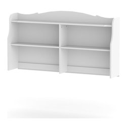 Nexera - Nexera Pixel Bookcase Hutch for Double Dresser - Pixel Bookcase Hutch from Nexera is the perfect addition to your Pixel bedroom set if you need more storage space for books, frames, decorative pieces,etc. Simply install Pixel Bookcase Hutch on top of Dixie/Pixel 6-Drawer Double Dresser to instantly increase your storage capacity. The hutch features 4 open sections with 2 adjustable shelves and 1 top shelf with decorative trim. Pixel Collection is the perfect bedroom suite for your little princess. It is offered in a rich white textured lacquer and melamine finish with metal handles, rounded girly construction details and generous storage space for all her treasures.