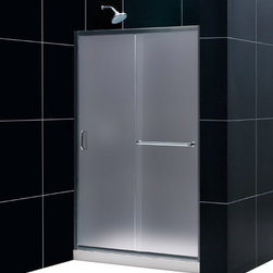 DreamLine - DreamLine SHDR-0948720-01-FR Infinity-Z 44 to 48in Frameless Sliding Shower Door - The Infinity-Z sliding shower door delivers a classic design with a fresh attitude. Features of convenience like a handy towel bar and fast release wheels that make cleaning the glass and track a cinch are combined with the modern appeal of a frameless glass design. Choose the simply sophisticated style of the Infinity-Z sliding shower door. 44 - 48 in. W x 72 in. H ,  1/4 (6 mm) frosted tempered glass,  Chrome or Brushed Nickel hardware finish,  Frameless glass design,  Width installation adjustability: 44 - 48 in.,  Out-of-plumb installation adjustability: Up to 1 in. per side,  Anodized aluminum profiles and guide rails,  Convenient towel bar on the outside panel,  Aluminum top and bottom guide rails may be shortened by cutting up to 4in,  Door opening: 15 - 19 in.,  Stationary panel: 21 1/2 in.
