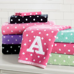 Dottie Applique Bath Towels - These luxurious Jacquard-woven towels in a fun polka-dot print make a hot shower even more inviting. Add your favorite initial for a personal touch.