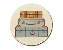 """Made on Terra - Vintage Luggage Suitcase Travel Mouse Pad - You're unashamedly a little proud of yourself. You've done a bang-up job organizing your desk and it deserves something special. This fabulous mouse pad should do just nicely, thank you very much. Choose from Made on Terra's many mouse pads.  Measures 7 1/2"""" in diameter; 1/4"""" thick. Made of polyester on top and durable black rubber on the back. Sold individually."""