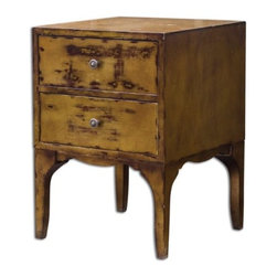 Uttermost - 25634 Vatia - 25 Side Table Mahogany/Eathered Champagne Silver Finish - Solid mahogany case with two dovetail drawers, hand finished in weathered champagne silver with heavy distressing.