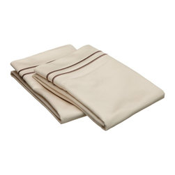 "Egyptian Cotton 800 TC Embroidered Pillowcase Set - Standard - Ivory/Taupe - Our 800 Thread Count Pillowcase Set offers superior quality and softness for elevated comfort. They are composed of premium, long-staple cotton and have a ""Sateen"" finish as they are woven to display a lustrous sheen that resembles satin. Each set include (2) Pillowcases 20""x30""."
