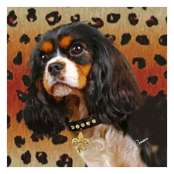 POPPA ARTZEE - King Charles Cavalier Dog Pillow - Adorable dog paintings silk screened onto Pillows with vibrantly colored backgrounds.  These playful paintings are created by Scottsdale artist, Sal Romano.  Pillow Cover fabric is a durable finely woven washable polyester canvas with animal image on one side and solid black back with zipper and black piping all around.  Pillow insert is filled with polyester cluster fiber.