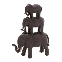 Benzara - Trio Stack of Poly Stone African Elephants - Trio stack of poly stone African elephants. Some assembly may be required.