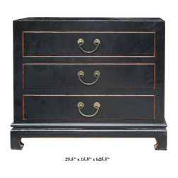 Black Color Solid Wood Claw Leg 3 Drawers Small Dresser / Side Table - This is simple and neat design 3 drawers dresser. It is made of solid elm wood and comes with nice bronze hardware.