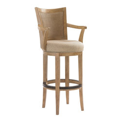 Lexington - Lexington Monterey Sands Carmel Swivel Bar Stool 830-816-01 - The double woven split rattan back is the perfect material for the oyster white finishing glaze which only enhances the design appeal. Likewise the transitional woven fabric in a medium sandy brown compliments the wood grain as well.