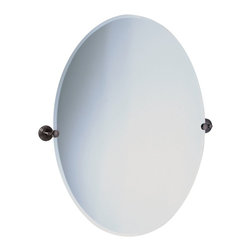 "Lamps Plus - Arts and Crafts - Mission Gatco Marina Bronze Finish Oval 32"" High Tilt Wall Mir - An excellent addition to a bathroom sink or vanity this oval mirror design has a beveled edge and comes with solid brass mounting brackets in an oil rubbed bronze finish. Tilting wall mirror. Oil rubbed bronze finish. Solid brass mounting brackets. Beveled oval mirror. Mirror glass only is 32"" high 24"" wide. 32"" high. 28 1/2"" wide. 2 1/2"" deep. Weighs 15 1/2 lbs.  Tilting wall mirror.  Oil rubbed bronze finish.   Solid brass mounting brackets.   Beveled oval mirror.   Mirror glass only is 32"" high 24"" wide.  32"" high.   28 1/2"" wide.   2 1/2"" deep.  Weighs 15 1/2 lbs."
