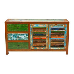 "Used Sea Saw Reclaimed Wood Cabinet - The Sea Saw Cabinet has a little bit of everything. Three drawers on the left and shelves enclosed behind two louvered doors on the right offer plenty of room to hold your collections. And the vibrant slats of wood reclaimed from fishing boats turn practical storage into a splashy accent piece.    Benefits:    The Sea Saw Cabinet is handmade from the wood of tropical fishing boats and iron from yesterday's bridges. Our pieces, large and small, are playful, due to the color and weathering inherent in each boat we buy; sophisticated by nature of our in-house design team, and made to last a lifetime: We use only the highest-quality fishing-boat teak.    Care, cleaning and technical information:  Highly durable marine grade wood is perfect for both indoor and outdoor use. We have treated this item with a water based organic semi-gloss finish therefore cleaning is very simple.  Low in harmful VOC's (volatile organic compounds) it is comparable to oil-based varnish for its high resistance to abrasion, water and solvents. This item cleans up easily with soap and water. As it cures, the molecules become cross linked in a lattice-like pattern that is much more durable than the single-strand bonds formed by conventional water-based finishes. This makes it a good choice for high-wear interior applications such as tabletops. It will have a very slight shine to it.     Number of pieces included: 1    Additional Dimensions:   Cabinet Dimensions: 16.5""x12.5""x6""          Shelf/Drawer Dimensions: 16""x33""x10""    Color: Wood is a natural material that varies in color, grain pattern and over-all appearance and texture. While our product images are intended to represent a wide spectrum of a materials and meant to display various characteristics, they do not show all variations. Each piece has its own individual characteristics; no item is exactly the same although we do keep the colors schemes consistent. The wood grain and coloring do vary slightly."