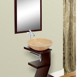 DreamLine - DreamLine Wood Base Powder Room Mahogany Finish Vanity with Mirror - This vanity set from DreamLine combines a contemporary sink stand with a matching wall mirror. The compact design is perfect for a small bath or powder room and the set comes complete with sink stand and a matching wall mirror.