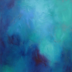 """""""Turquoise Clouds 13"""" (Original) By Roberta Aviram - This Is A Very Mysterious Piece Blending My Favorite Cool Colors With Feathery Strokes In An Effort To Achieve Balance And Harmony. Lots Of Texture And A Glossy Surface Are Added To The Mix In This Painting That Is Part Of The Clouds Series. It Is Deeper Than The Others, With 1.5 Inch Gallery-Wrapped Painted Edges. Also Ready To Hang, No Frame Required!"""