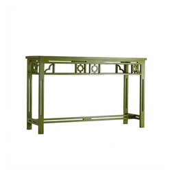 Xia Li Console - Add a bit of contemporary Chinese Chippendale style to your entryway, living room or dining room with this fun console from House Eclectic. Also available in black or white, we prefer this vibrant, eye-catching shade of green.