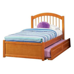 Atlantic Furniture - Twin Windsor Platform Bed / Flat Panel Footboard / Raised Panel Trundle - The bed is made of Eco-Friendly solid hardwood and finished in Natural Maple finish. Windsor Platform Bed by Atlantic Furniture comes with Raised Trundle Bed, Raised Panel Footboard, and Arched Headboard.