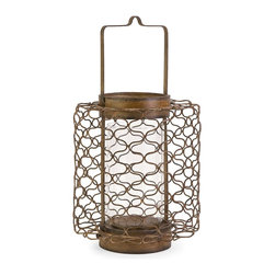 iMax - iMax Escate Small Wire Latern with Glass Hurricane X-00448 - Incorporating a wire frame and glass hurricane, the small Escate lantern is the perfect neutral accent to add a warm glow and visual texture to any style of room decor. Holds pillar candles.
