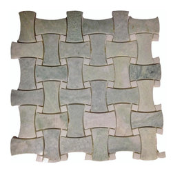 "Marbleville - Ming Green Basket Weave Curved Pattern Polished Marble Mosaic in 12"" x 12"" Sheet - Premium Grade Ming Green Basketweave Curved Pattern Polished Finish Mesh-Mounted Marble Mosaic is a splendid Tile to add to your decor. Its aesthetically pleasing look can add great value to any ambience. This Mosaic Tile is made from selected natural stone material. The tile is manufactured to high standard, each tile is hand selected to ensure quality. It is perfect for any interior projects such as kitchen backsplash, bathroom flooring, shower surround, dining room, entryway, corridor, balcony, spa, pool, etc."