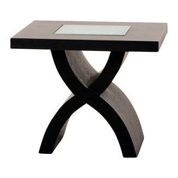 Diamond Sofa - End Table with Crackled Glass Inset and X-Shaped Base - This elegant and modern styled End Table with Crackled Glass Inset and X-Shaped Base by Diamond Sofa brings comfort in your living room. This square end table has crackled glass inset and X-shaped base.