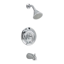 American Standard - American Standard T038.502.002 Tropic Bath/Shower Trim Kit,  Chrome - American Standard T038.502.002 Tropic Bath/Shower Trim Kit,  Chrome. This Bath And Shower Trim Kit features a brass wall escutcheon, adjustable showerhead, diverter tub spout. For use with R110 or R115 series valves