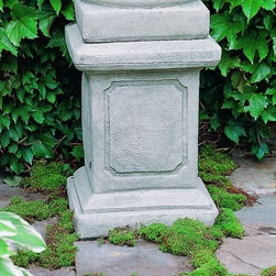 Campania International Large Square Frame Cast Stone Pedestal For Urns and Statu - About Campania InternationalEstablished in 1984, Campania International's reputation has been built on quality original products and service. Originally selling terra cotta planters, Campania soon began to research and develop the design and manufacture of cast stone garden planters and ornaments. Campania is also an importer and wholesaler of garden products, including polyethylene, terra cotta, glazed pottery, cast iron, and fiberglass planters as well as classic garden structures, fountains, and cast resin statuary.Campania Cast Stone: The ProcessThe creation of Campania's cast stone pieces begins and ends by hand. From the creation of an original design, making of a mold, pouring the cast stone, application of the patina to the final packing of an order, the process is both technical and artistic. As many as 30 pairs of hands are involved in the creation of each Campania piece in a labor intensive 15 step process.The process begins either with the creation of an original copyrighted design by Campania's artisans or an antique original. Antique originals will often require some restoration work, which is also done in-house by expert craftsmen. Campania's mold making department will then begin a multi-step process to create a production mold which will properly replicate the detail and texture of the original piece. Depending on its size and complexity, a mold can take as long as three months to complete. Campania creates in excess of 700 molds per year.After a mold is completed, it is moved to the production area where a team individually hand pours the liquid cast stone mixture into the mold and employs special techniques to remove air bubbles. Campania carefully monitors the PSI of every piece. PSI (pounds per square inch) measures the strength of every piece to ensure durability. The PSI of Campania pieces is currently engineered at approximately 7500 for optimum strength. Each piece is air-dried and then de-molded by hand. After an internal quality check, pieces are sent to a finishing department where seams are ground and any air holes caused by the pouring process are filled and smoothed. Pieces are then placed on a pallet for stocking in the warehouse.All Campania pieces are produced and stocked in natural cast stone. When a customer's order is placed, pieces are pulled and unless a piece is requested in natural cast stone, it is finished in a unique patinas. All patinas are applied by hand in a multi-step process; some patinas require three separate color applications. A finisher's skill in applying the patina and wiping away any excess to highlight detail requires not only technical skill, but also true artistic sensibility. Every Campania piece becomes a unique and original work of garden art as a result.After the patina is dry, the piece is then quality inspected. All pieces of a customer's order are batched and checked for completeness. A two-person packing team will then pack the order by hand into gaylord boxes on pallets. The packing material used is excelsior, a natural wood product that has no chemical additives and may be recycled as display material, repacking customer orders, mulch,or even bedding for animals. This exhaustive process ensures that Campania will remain a popular and beloved choice when it comes to garden decor.Please note this product does not ship to Pennsylvania.