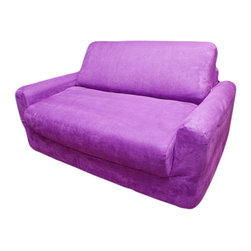 Fun Furnishings - Fun Furnishings Micro Suede Sofa Sleeper with Pillows in Purple - The sofa and chair sleepers are the perfect place to sit to read, watch TV or play a game. When it is time to take a nap or find a place for a little friend to spend the night, flip open the chair or sofa , add a blanket and pillow and you are all set. Grandparents love having one at their home too. Built-in durability. We've worked hard to make our furniture durable and help it retain its appearance. We use high-density foam to make the furniture hold up to the tough use it receives from kids. We include a layer of fiber on the seating surfaces to keep the fabric tight much longer.