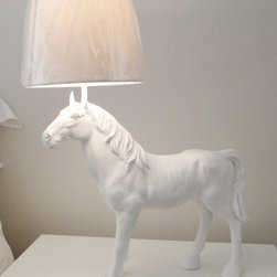 Horse's Lamp by Hodi Home Decor - This resin horse has a great designer look and comes in every color you can think of. You can even get it in the raspberry sorbet color that looks very much like Pantone's color of the year.