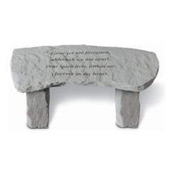Gone Yet Not Forgotten Memorial Bench - Small Bench - Turn a corner of your garden or yard into a beautiful memorial with the Gone Yet Not Forgotten Memorial Bench - Small Bench. This lovely outdoor bench is built from cast stone, with a comforting poem etched into its surface. Made in the USA by talented craftsmen, this bench is weatherproof and will last a lifetime. Manufacturer's note: This bench is meant for decorative use only. About Kay Berry ProductsProudly hand-cast in the USA, Kay Berry products offer kind sentiments and quality decor. From whimsical to poignant, the verses on Kay Berry products are thoughtful and serve as a fine way to add both beauty and comfort wherever they're placed. Artisans craft Kay Berry designs from actual stone originals. Kay Berry products are meticulously reproduced using materials and methods developed in ancient Rome. Since the family-owned company's inception in 1991, pride and honor go into each and every Kay Berry item. Please note this product does not ship to Pennsylvania.