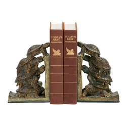 Sterling Industries - Sterling Industries 91-1938 Sterling Pair Turtle Tower Bookends - The Power Of The Turtle Is Demonstrated Through The Teamwork Of These Four Turtles Trying To Reach New Heights In This Fun And Adorable Sterling Pair Of Turtle Tower Bookends. Soon To Become A Collectible, The Turtle Bookends Will Bring A Touch Of Whimsy And Nature To Any Book Collection. They Are Great Sitting On A Shelf Or As A Decorative Accessory In The Living Room, Library, Office, Or Family Room. Painted In A Rustic And Aged Hand-Made Finish. Measures 11 Inches Long X 4 Inches Wide X 7 Inches High. Sold As A Pair.  Bookend (2)