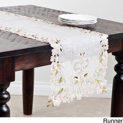 None - Embroidered and Cutwork Table Runner or Topper - Add a touch of understated elegance to kitchen decor with this beautiful cutwork off white table runner or topper. This beautiful piece adds a distinctive style to contemporary decor.