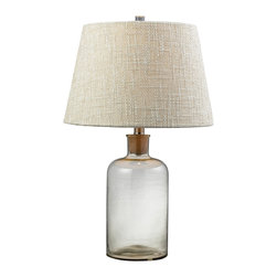 HGTV HOME - Glass Bottle 1-light Clear Table Lamp - Update any room in your home with this clear glass table lamp, highlighting a contemporary design with a cork in the neck. This single-light lamp also features a fabric shade and a convenient three-way switch.