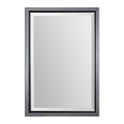 """Uttermost - Rashida Chrome Mirror - Polished, chrome plated metal frame accented with a matte black inner lip. Mirror has a generous 1 1/4"""" bevel. May be hung horizontal or vertical."""